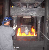 one of our workers busy in forging process
